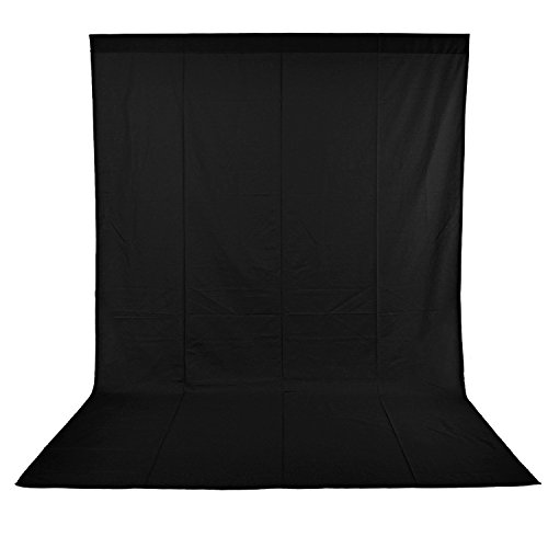 Neewer 6x9 feet/1.8x2.8 meters Photo Studio 100 Percent Pure Muslin Collapsible Backdrop Background for Photography, Video and Television (Background Only) - Black
