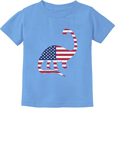 USA Dinosaur American Flag 4th of July Gift Toddler/Infant Kids T-Shirt 3T California Blue
