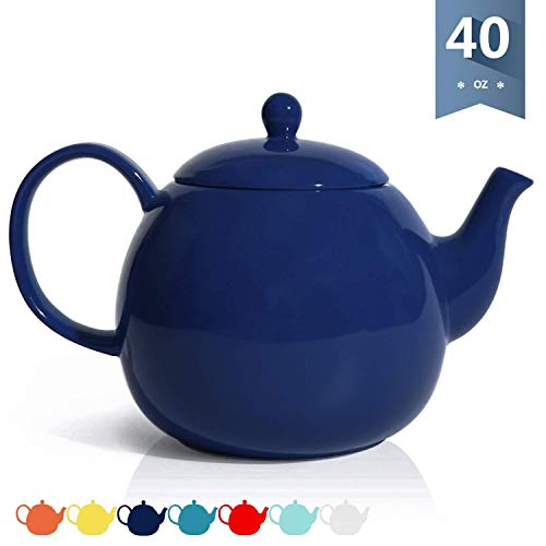 Sweese Porcelain Teapot, 40 Ounce Serving Tea Pot - Large Enough for 5 Cups, Microwave Safe