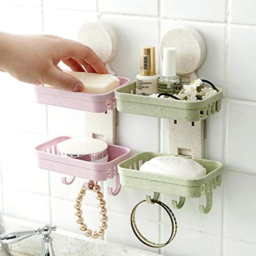 Hot Sale!DEESEE(TM)Bathroom Shower Soap Box Dish Storage Plate Tray Holder Case Soap Holder Double (Green)