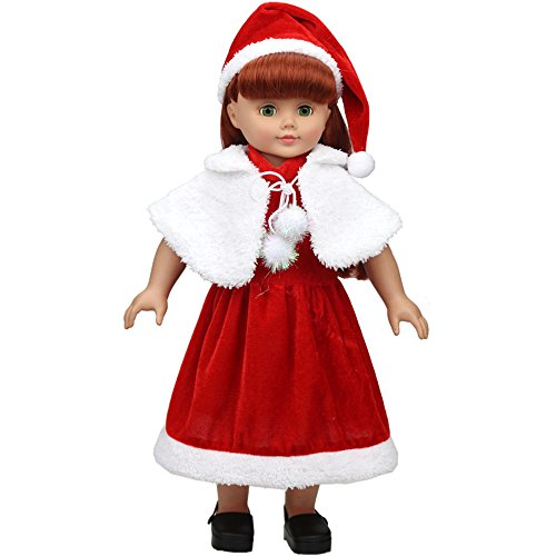 XADP 3pc Christmas Doll Clothes Red Color Including Hat Shawl Dresses Outsuits Fits American Girl Doll and Other 18 Inch Girl Dolls