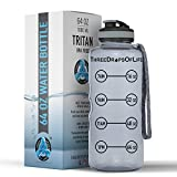 Three Drops of Life 64oz Hydration Tracking Large Sports Water Bottle, The Largest Time Tracker Sport Bottles, Best Daily Hydration Monitor