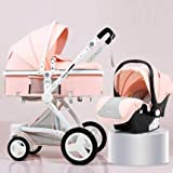 Luxury Baby Stroller Toddler Carriage with PU Basket High-Landscape Easy Carry Pram for Newborns Pushchair Can Sit Can Lie (Pink)