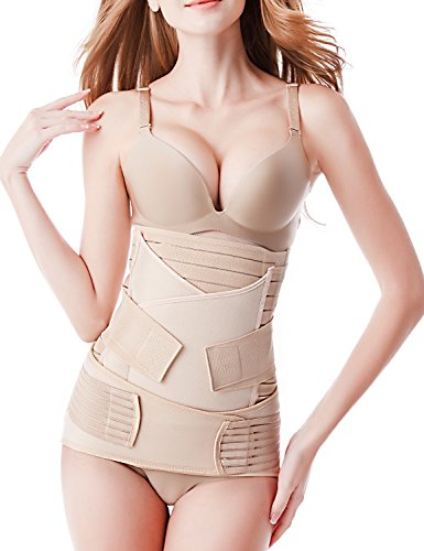 Postpartum Belly Wrap 3 Belts in 1, Postnatal Band Post C Section Recovery Girdle Binder (One Size) Nude