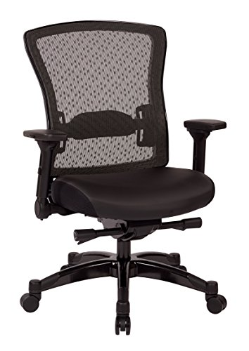 SPACE Seating Professional R2 SpaceGrid Back Chair with Padded Memory Foam Eco Leather Seat, 2-to-1 Synchro Tilt Control, 4-Way Adjustable Flip Arms, and Gunmetal Finish Accents Managers Chair, Black