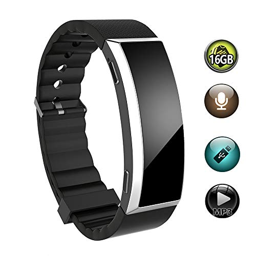 16GB Voice Recorder Watch, BestRec Voice Activated Recordings for Lectures, Meetings, 20 Hours Working Time, Easy One Button Operation - Black