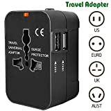Travel Adapter, Heagstat Worldwide All in One Universal Power Converters USB Wall Charger AC Power Plug Adapter with 2.1Amp Dual USB Charging Ports for USA EU UK AUS Cell Phone Laptop (Black)