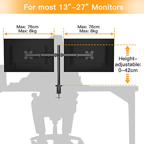 41V01LwX4nL - HUANUO Dual Monitor Mount, Fully Adjustable for Two 13 to 27 inch LCD LED Screens, 2 Mounting Options, VESA 75/100