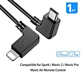 RCstyle Spark OTG Cable for IPhone To Micro USB Cable Cord Perfect Size Right Angle Nylon Adapter Compatible with DJI Mavic 2 Pro/Zoom / Mavic Air/Pro / Platinum Controller 1ft
