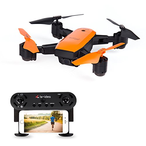le-idea L7 Foldable GPS Drone with Auto Return Auto Hover Follow Me Mode 720P WiFi FPV RC Drone Live Camera and GPS Positioning Quad Copter with Map Location and Waypoint Setting Orange Color