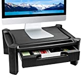 Adjustable Monitor Stand Riser Printer Shelf with Pull Out Drawer, Pen Storage Slot, Cable Management, Hold up to 22lbs Computer, Laptop, iMac, Desk Organizer