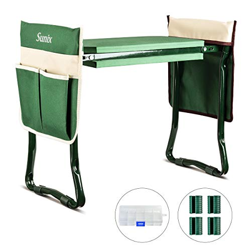 Sunix Folding Garden Kneeler and Seat, with 2 Free Tool Pouch, with Kneeling Pad for Gardening - Sturdy, Lightweight and Practical, Protect Your Knees and Clothes When Gardening - Gardening Gift.