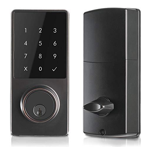 Electronic Deadbolt Smart Door Lock, LED Touch Screen Keypad, Bluetooth Smart Phone Enabled Keyless Access, Easy to Install, Oaks Smart Lock (Smart Lock)