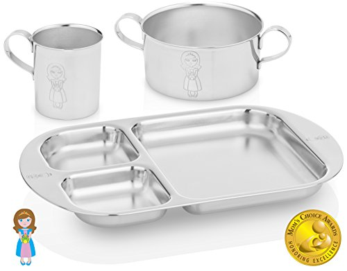 Kiddobloom Kids Stainless Steel Dinnerware Set, Little Princess (1 Kids Bowl, 1 Kids Cup, 1 Kids Divided Tray or Plate). Perfect for Babies, Toddlers, and Kids. Beautiful Baby Keepsake.