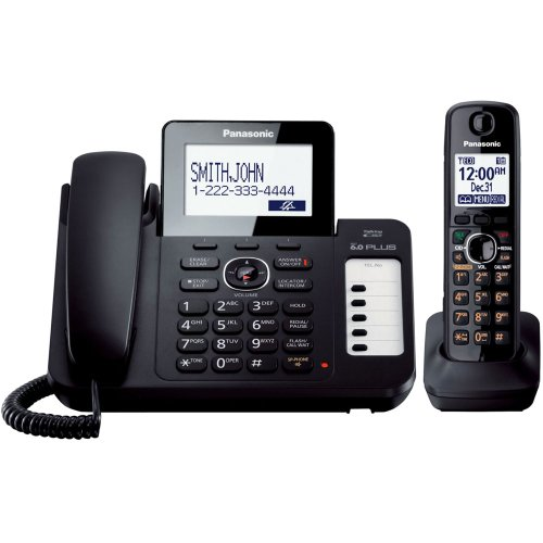 Panasonic KX-TG6671B DECT 6.0 Corded/Cordless Phone with Digital Answering System, Black, 1 Handset