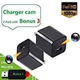 2019 Upgraded Spy Camera Charger Bundle No WiFi With 180 Degrees Extention Power Outlet-Hidden Spy Phone USB Charger Camera Motion Activated All The Day