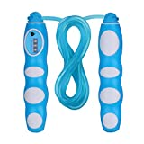 JOYOJOY Jump Rope Workout for Kids and Adult Girls Boys Women Exercise with Counter Non-Slip Cartoon Handle Tangle Free Rope Adjustable.(Blue)