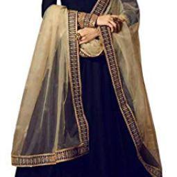 Kumbh Nath Women's Embroidered Taffeta Silk Anarkali Gown(Free Size_Dark Blue)