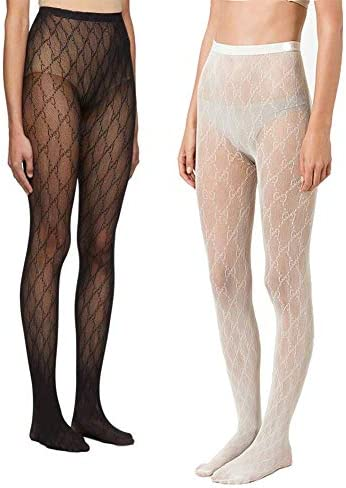 Letter G Fishnet Tights for Women, High Waist Stocking Footed Tights Jacquard Pattern Pantyhose