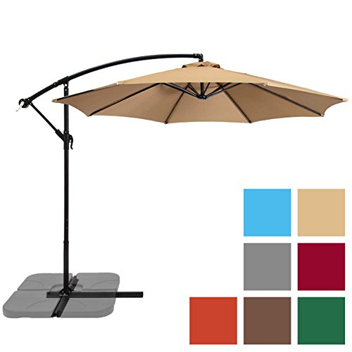 Best Choice Products 10ft Offset Hanging Outdoor Market Patio Umbrella - Beige