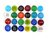 Encouragement Stones, Set of 24 Motivational and Inspirational Quotes and Sayings on Translucent and Opaque Glass Stones, by Lifeforce Glass.