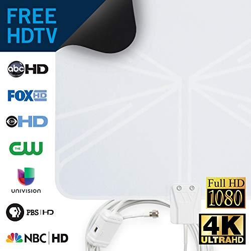 Winegard FL5500A FlatWave Amplified Razor Thin HDTV Indoor Antenna, Black/White