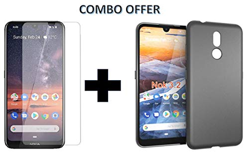 Prime Retail Tempered Glass + 1 Candy Black Silicon Back Cover (Combo Pack) for Nokia 3.2 1