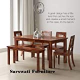 Sarswati Furniture Sheesham Wood Dining Table 6 Seater   Wooden Dinning Room Furniture   4 Chair & 2 Seater Bench   1 Table   Balcony Dining Set   Teak Brown