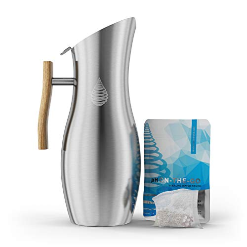 Invigorated Water pH Vitality Stainless Steel Alkaline Water Pitcher - Alkaline Water Filter Pitcher High pH Ionized Filtered Water Purifier - Includes Long Life Filter, New 2019 Model, 64oz 1.9L