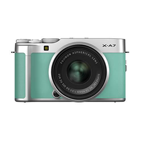 Fujifilm X-A7 24.2 MP Mirrorless Camera with XC 15-45 mm Lens (APS-C Sensor, Large 3.5″ Vari-Angle Touchscreen, Face/Eye Auto Focus, 4K Video Vlogging, Blur Control, Film Simulations) – Mint Green