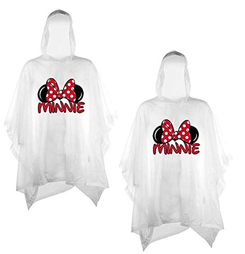 Disney 2-Pack Family Rain Ponchos, Mickey Or Minnie Mouse, Adult & Youth (Minnie-Minnie, Adult)