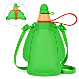 Srotek Collapsible Silicone Kids Water Bottles Portable Leak Proof Drinking Water Bottle - 305ml BPA Free Water Pouch FDA Approved Outdoor Sports Reusable Water Bottles with Shoulder Strap,Green