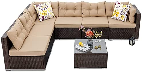 YITAHOME Patio Furniture Set,7-Piece All-Weather Rattan Patio Conversation Set with Washable Soft Cushions,Pillows and Coffee Table,Water-Resistant Outdoor Sectional Sofa for Garden, Balcony, Backyard