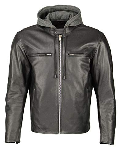 M Boss Motorcycle Apparel BOS11500 Mens Black Leather Armored Racing Jacket with Reflective Skull Design - 2X-Large
