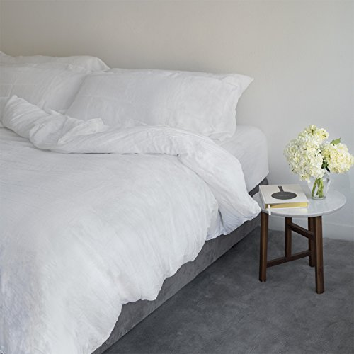 Huddleson White Vintage-Washed Pure Italian Linen Duvet Cover - King