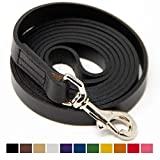 Logical Leather 6 Foot Dog Leash - Best for Training - Water Resistant Heavy Full Grain Leather Lead - Black