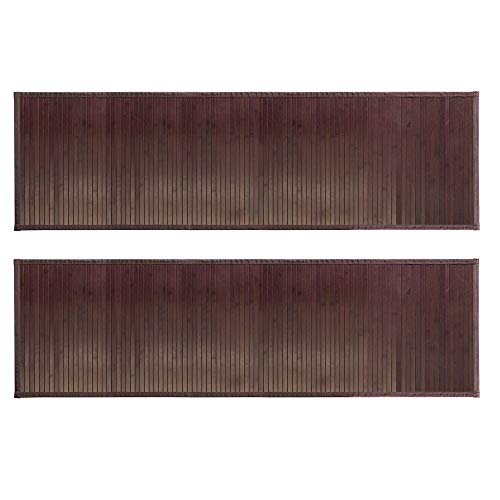 mDesign Long Bamboo Rectangular Spa Bath Mat/Runner Rug with Fabric Trim - Water Resistant - for Bathroom Vanity, Bathtub/Shower, Entryway - Environmentally Friendly, 60' x 21' - 2 Pack - Mocha Brown