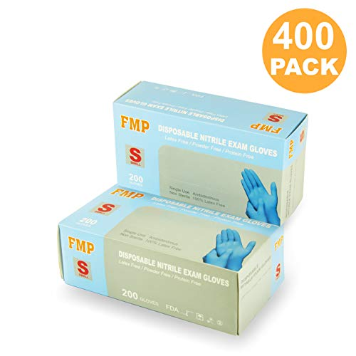[400 Pack] Small Blue Nitrile Medical Gloves – Non Latex Rubber, Protein and Powder Free, Exam/Food Grade Safe Supplies, Disposable Hand Glove Dispenser Pack deal 50% off 41Vdvg5jIRL