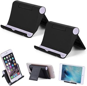 Cell Phone Stand Multi-Angle,【2 Pack】 Tablet Stand Universal Smartphones for Holder Tablets(6-11″), e-Reader, Compatible Phone XS/XR/8/8 Plus/7/7 Plus, Galaxy S8/S7/Note 8, Air, Mini, Pixel 2(Black)