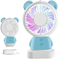 Handheld Mini Fan LED Light Fan Thin Cooling Fan Portable Rechargeable Fan Cute Bear/Rabbit Fan Standable And Hanging Fan for Baby Kids Friends Gifts (Blue Bear)