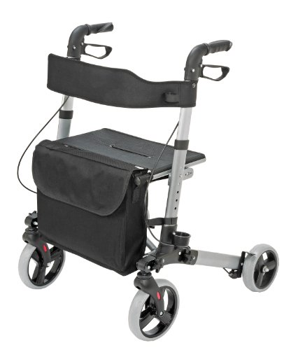 Four Wheel Rollator Walker with Seat for Seniors Made of Compact Folding Lightweight Aluminum Includes seat, backrest, Cane Holder and Storage Tote Holds a Weight Capacity up to 300 pounds, Titanium