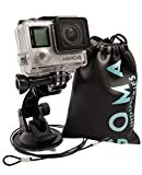 GOMA Industries Suction Cup Car Mount for GoPro Hero7 Hero6 Hero5 Hero4 All Gopro Cameras and camcorders AKASO EK7000 SJcam SJ4000, SJ5000, xiaomi Yi Bundled with Safety Tether and Protective Bag