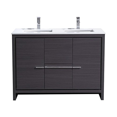 41VjfTvrokL MDF and Wood Veneer Construction Cabinet . Gray Oak Finish / Two Functioning Doors and Two Drawers . Adjustable Doors and Drawers / Luxurious Pure White Quartz Countertop