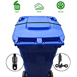 XJunion Trash Can Lid Strap, Bin Strap Garbage Lock, The Easy-Install Solution for Securing Your Outdoor Garbage Can Lid - No More Mess (Black, 1)