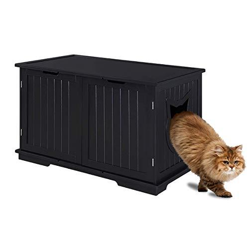 Sweet Barks Designer Cat Washroom Storage Bench Cat Litter Box Enclosure Furniture Box House with Table (Black)