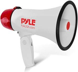 Pyle Megaphone Speaker PA Bullhorn – Built-in Siren – 20 Watt Adjustable Volume Control & 800 Yard Range – Ideal for Football, Soccer, Baseball, Cheerleading Fans, Coaches & Safety Drills – PMP20