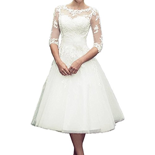 HSD Womens A Line 3 4 Sleeve Tea Length Lace Wedding Dress Bridal