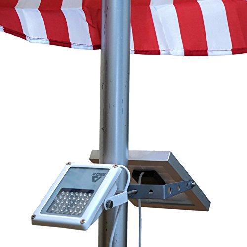 ALPHA 180X Flag Pole Light (Warm White LED) for Solar Flagpole Lighting/Cast Iron Street Light Style Doubled as Floodlight/U-Bracket Fits Max Pole Diameter 2.5', Warm White Light