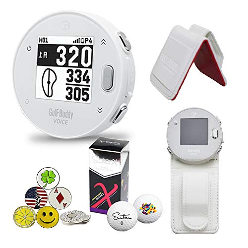 GolfBuddy Voice X GPS/Rangefinder Bundle with Belt Clip, 5 Ball Markers, 1 Magnetic Hat Clip and Saintnine 2 Ball Sleeve