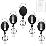 5 Pack Heavy Duty Retractable Badge Holders with Carabiner Reel Clip and Vertical Style Clear ID Card Holders, 24' Thick Kevlar Pull Cord